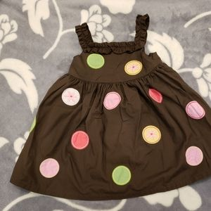 Brown polka dot sleeveless dress with bloomers